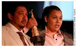 Claire & Producer Caramel at SAMA Awards 2007. [pic courtesy www.samusicawards.co.za]